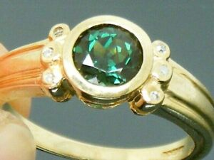9ct Gold Tourmaline & Diamond Art Deco design Hallmarked Ring size N