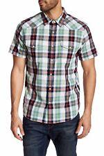 LUCKY BRAND Shirt Western Plaid Short Sleeve Regular Fit Blue-Green - Sz M, XL