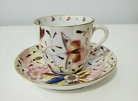 Antique Fine Royal Vienna Porcelain Coffee Cup and Saucer Hand Painted