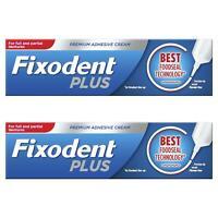2 x Fixodent Plus Dual Premium Food Seal Denture Adhesive Cream 10x Stronger 40g