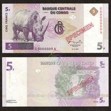CONGO D.R. 5 Francs SPECIMEN 1997 P-86s UNC Uncirculated