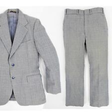 1980's Vintage Men's 100% Wool Glen Plaid Suit 36 X 31 Pants 40 Jacket