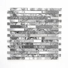 Mosaik Fliese Transluzent Edelstahl grau Verbund Glas| 87-MV778_f | 10 Matten
