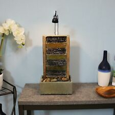 Sunnydaze Tranquility Slate Tiered Tabletop Fountain and LED Spotlight - 24""