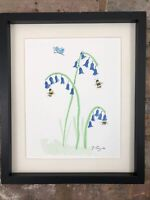Bluebells, Butterfly And Bees Signed Original Watercolour Painting, Gift,