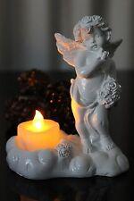 Deko Engel mit LED Teelicht Figur Skulptur Kerze Engelchen, Blumen