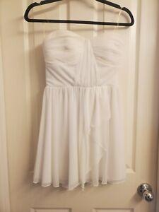 Sequin Hearts strapless White semi formal short dress, size 3 dance, prom