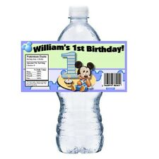 20 BABY MICKEY 1ST PERSONALIZED BIRTHDAY PARTY FAVORS ~ WATER BOTTLE LABELS