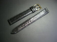 15 mm Vintage Black Genuine Lizard Watch Strap! band belt Made in France
