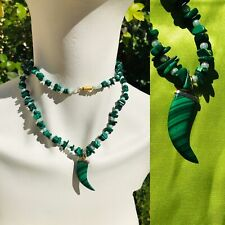 Artisan Malachite Faux Pearl Green Gem Stone Carved Horn Beaded Long Necklace
