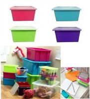 Plastic Storage Boxes With Lid 5L,14L,32L,52L Stackable Large Container Colored
