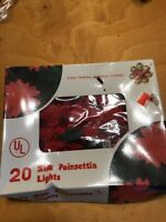 Vtg  Red Silk Wreath Poinsettia Lighted Xmas Tree Topper In Box 10 lights B70