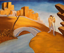 """Original Oil Painting """"THE BRIDGE"""" on Canvas 30"""" x 24"""" Art/Picasso/Abstract/Miro"""
