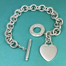 """9"""" Large Tiffany & Co Sterling Silver Blank Heart Tag Toggle Charm Bracelet"""