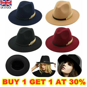 Women Ladies Vintage Large Felt Trilby Fedora Jazz Wide Brim Hat Cap Gangster UK