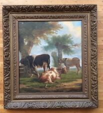19th C. Belgian Postural Scene with Bull Cow Donkey Eugene Verboeckhoven Style