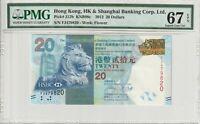 Hong Kong 20 Dollars 2012 Pick 212b PMG Certified Banknote UNC 67 EPQ Superb Gem