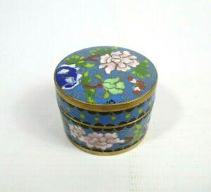 Cloisonne Pill Box Blue Floral Chinese Trinket Box