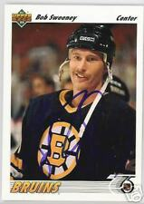 BOB SWEENEY 1992 UPPER DECK BOSTON BRUINS  AUTOGRAPHED HOCKEY CARD JSA