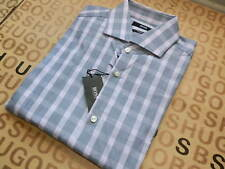 NEW HUGO BOSS MENS GREY PINK CHECK SLIM FIT SMART LV SUIT COTTON SHIRT 15.5 39