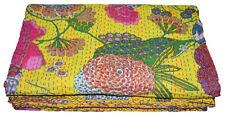 Indian Handmade Quilt Vintage Kantha Bedspread Throw Cotton Blanket Gudari Queen