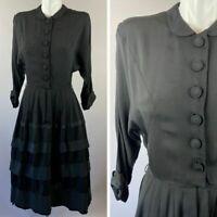 Vtg 40s 50s Carl Naftal Black Button Dress Ribbon Trim Rayon 3/4 Sleeve Small
