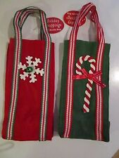 WINE CHAMPAGNE LIQUOR FELT BOTTLE GIFT BAGS CANDY CANE & SNOWFLAKE NWT