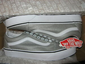Vans Old Skool Womens Skate Skateboard Shoes Sneakers Silver Shimmer