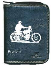 Porte monnaie porte carte noir moto style Harley avec votre prenom
