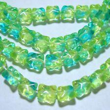 "Uranium Glow Green 7x9mm Square 25 Beads 8"" Strand Czech Glass Yellow Blue"