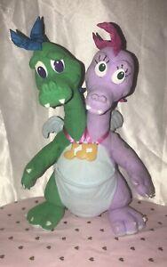 "Vintage Dragon Tales Zak & Wheezie Playskool Plush Stuffed Animal 1999 Talks 12"""