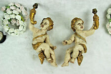 PAIR antique italian chalkware Angels putti cherubs wall lights sconces