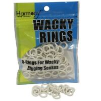 "WHITE O-Rings For Wacky Rigging Senko Bass Fishing Worms (100 pcs - 4&5"" Senko)"