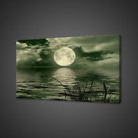 MOONRISE GREEN LAKE FANTASY CANVAS PICTURE PRINT WALL ART HOME DECOR