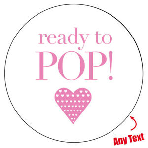 READY TO POP HEART GLOSSY MATT NON Personalised Stickers Party Bag Box Gift -58