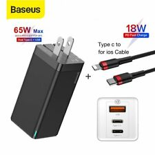 Baseus 65W US Plug USB Type-C Wall Charger GaN Adapter + 18W Lightning Cable