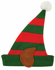 CHILDREN ELF STRPEY HAT WITH EARS FLEECE UNISEX CHRISTMAS KIDS FANCY DRESS XMAS