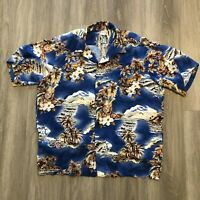 Hilo Hattie Mens XL Blue Floral Rayon S/S Hawaiian Shirt