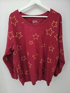 Womens Doe Red Gold Stars Pullover Sweatshirt Size 3X Juniors