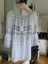 Bohemian Kaftan Tunic Holiday Dress Beach Cover up fits uk 14,16,18 off shoulder