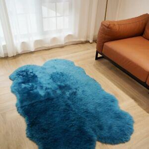 3.3'x5.2' Blue Australian Sheepskin Rug Cushion Bed Mat Soft Fluffy Carpet