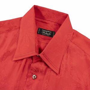 Stefano Ricci Red 100% Silk Floral Jacquard Iridescent Spread Dress Shirt 16.5