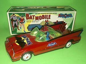 """Batman BATMOBILE MIB 12"""" Battery Operated Cien Ge Red Cien Ge DoorLogo 1966"""