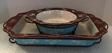 temp-tations Ovenware - Floral Lace Lt Blue Casserole Dish & Bowl W/stands