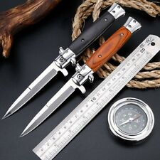 "9"" Spring Assisted Folding Knife Stiletto Milano Tactical Wood Pocket Blade Open"