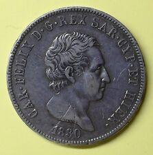 5 lire 1830 Carlo Felice, P nel ovale - Testina d'aquila. Torino