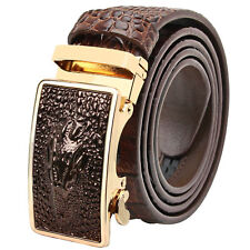 Falari Men Alligator Dress Belt Embossed Genuine Leather Strap Automatic Buckle