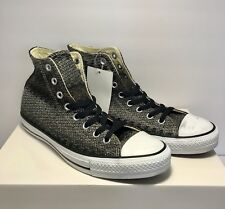 Converse Mens Size 8 Chuck Taylor All Star Hi Black White Shoes Sneakers Knit