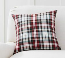 "Pottery Barn Christmas Denver Plaid Indoor/Outdoor Pillow 18"" square"