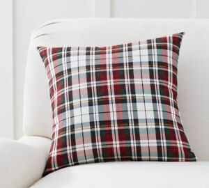 """Pottery Barn Christmas Denver Plaid Indoor/Outdoor Pillow 18"""" square"""